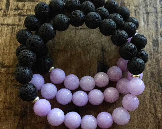 Lava Bead + Lilac Jade | Essential Oils Diffuser | Average 8 mm | Yoga + Meditation | Stackable Mala Bracelet