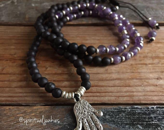 108 Bead Spiritual Junkies Black Sandalwood, Amethyst + Hamsa Pendant Yoga and Meditation Mini Mala (6 mm)