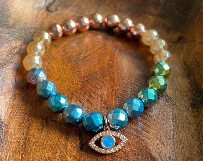 Eye See You Bracelet | Rose Gold Hematite, Mystic Mermaid Agate, Rainbow Hematite + Pavê Third Eye | 8 mm | Spiritual Junkies | Yoga