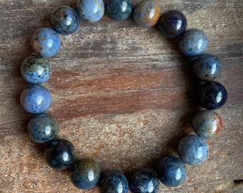 Chunky Dumortierite | 10 mm Round | Spiritual Junkies | Yoga + Meditation | Stackable Mala Bracelet
