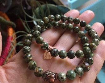 Rhyolite + Rose Gold Vermeil Heart or Copper Buddha   Spiritual Junkies   Yoga + Meditation   Stackable Mala Bracelet