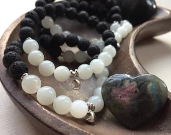 Lava Bead, Moonstone + Sterling Silver Crescent Moon    Essential Oil Diffuser   Spiritual Junkies   Yoga   Stackable Mala Bracelet