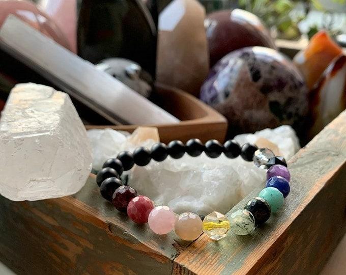Rad Rainbow Bracelet | Ebony Wood + Rainbow Gemstones | 8 mm | Spiritual Junkies | Yoga + Meditation | Mala Beads