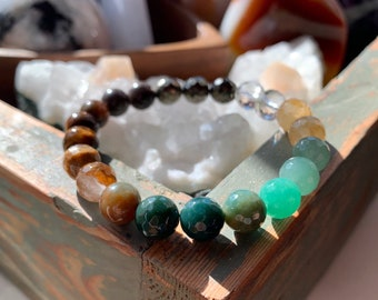 Rainbow of Abundance Bracelet | Aventurine, Tiger Eye, Jade, Moss Agate, Citrine, Obsidian, Quartz Crystal + Pyrite | Spiritual Junkies