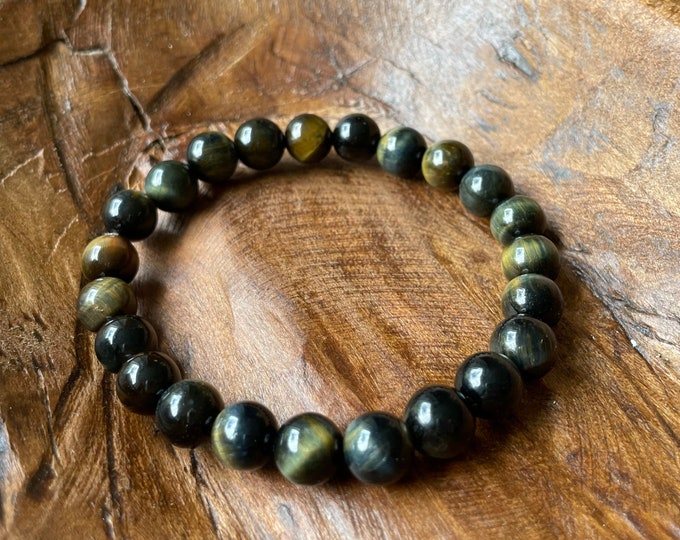 Golden Blue Tiger Eye Bracelet | Hawk's Eye | 8 mm | Spiritual Junkies | Yoga Jewelry | Mala Beads