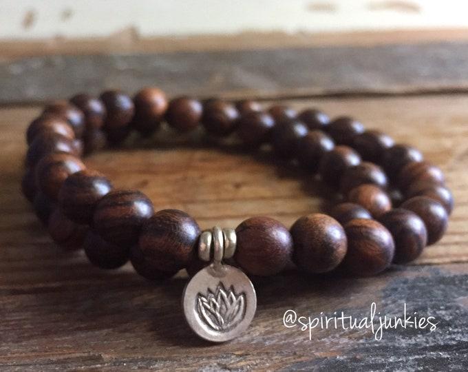Natural Agarwood + Sterling Silver Lotus | Double Wrap | Thai Silver | Spiritual Junkies | Yoga + Meditation | Stackable Mala Bracelet
