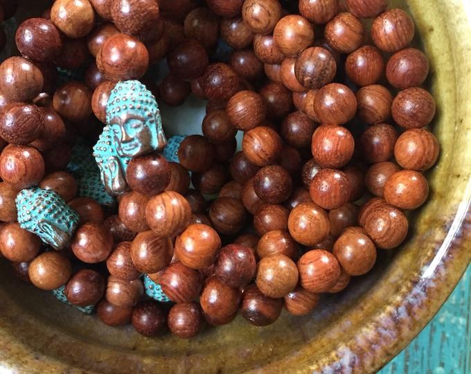 Natural Wood + Patina Buddha | Spiritual Junkies | Yoga + Meditation | Stackable Mala Bracelet