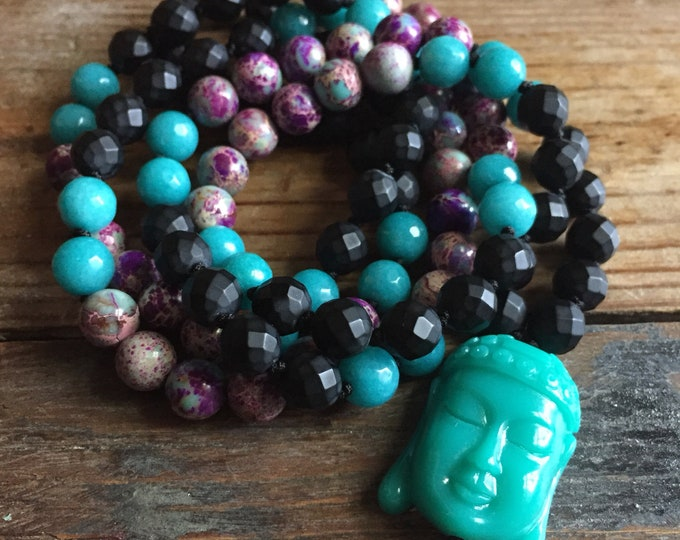 Onyx, Teal Jade, Purple + Teal Jasper and Teal Buddha Mala | 108 Bead | 8 mm | Partially Handknotted |Spiritual Junkies | Yoga + Meditation