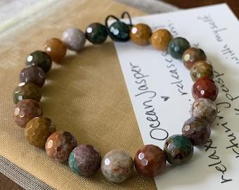 CUSTOM Pair of 2 Ocean Jasper + Buddha Bracelets | 8 mm + 10 mm | Spiritual Junkies | Yoga + Meditation