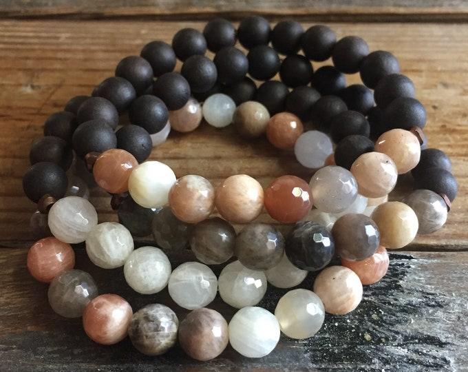 Yin + Yang | Ebony Blackwood, Chocolate Sunstone, Sunstone + Moonstone | 8 mm | Spiritual Junkies | Stack of 4 Yoga Mala Bracelets