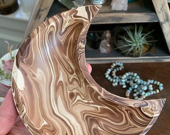 Wood Moon Bowl | Crescent Moon | Light Brown Marbled | Reiki | Spiritual Junkies | Altar | Sacred Space | Wooden Moon | Meditation