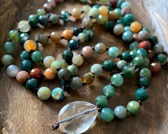 Indian Agate + Quartz Crystal Mini Mala | 6 mm | Spiritual Junkies | 108 Bead Handknotted | Yoga + Meditation