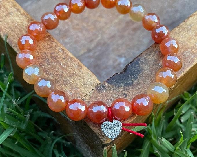 Summer Sunrise Love | Mystic Mermaid Summer Sunrise Agate + Pave Heart | 8 mm | Spiritual Junkies | Yoga Jewelry | Stackable Mala Bracelet