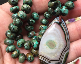 "One of a Kind African Turquoise Jasper Rondelles + Agate ""Reversible"" Mala | 108 Bead | Handknotted | Spiritual Junkies | Yoga + Meditation"
