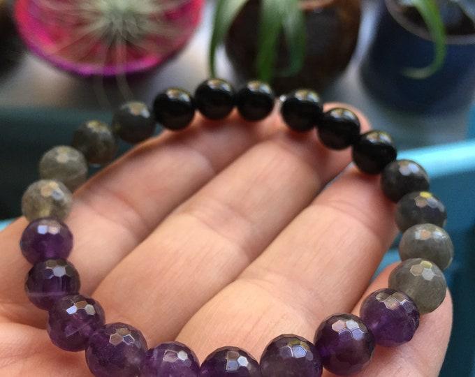 Sobriety Mala Bracelet | Amethyst, Labradorite + Tourmaline  | Spiritual Junkies | Yoga + Meditation | Stackable Bracelet