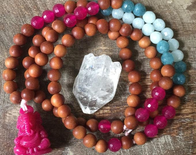 Sandalwood, Jade + Pink Ganesha Mini Mala | 108 Bead | 6 mm | Spiritual Junkies | Yoga + Meditation