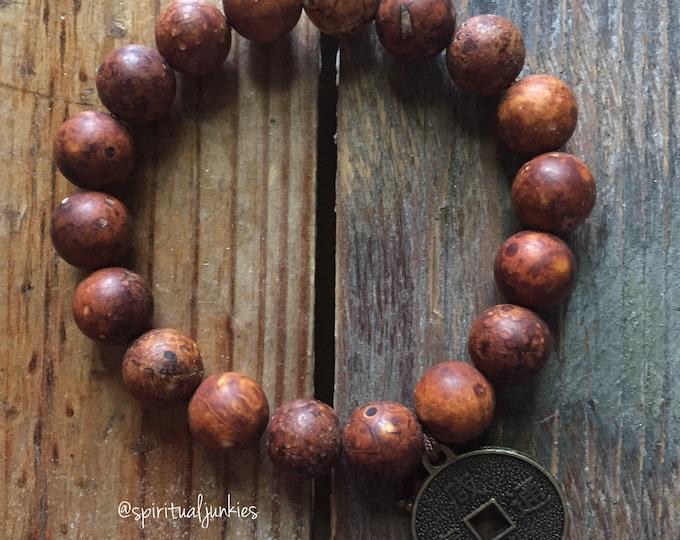 Matte Burnt Sienna Tibetan Agate + Chinese Coin | Dzi Agate | Chunky 10 mm | Spiritual Junkies | Yoga + Meditation | Stackable Mala Bracelet
