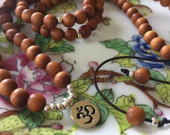 Sandalwood + Thai Silver Om   108 Bead Mala   Mini 6 mm   Spiritual Junkies   Yoga + Meditation