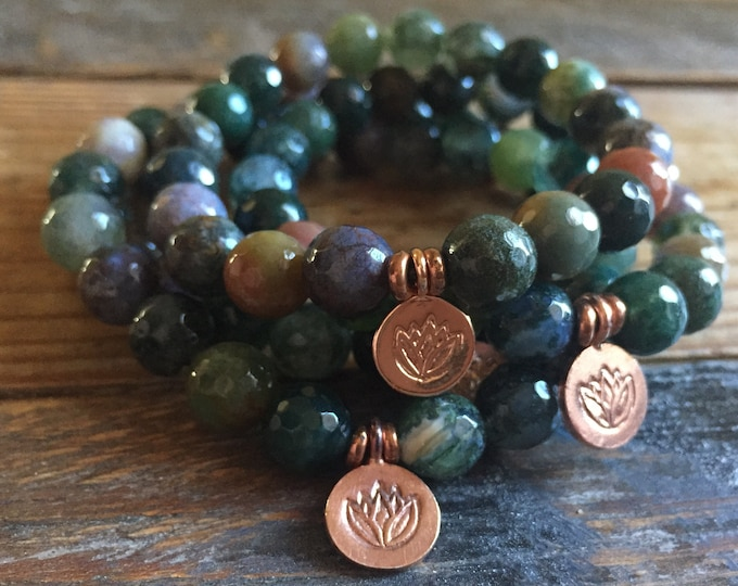 Indian Agate + Rose Gold Vermeil Lotus | Spiritual Junkies | Yoga + Meditation | Stackable Mala Bracelet