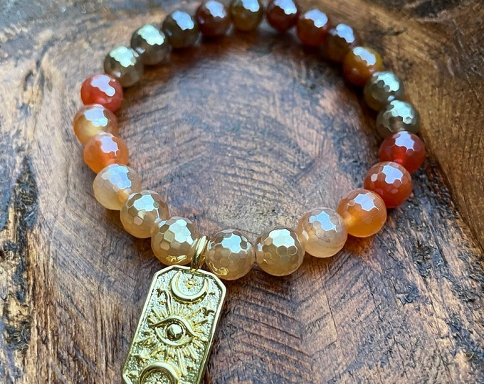 Sultry Summer Nights Bracelet | Mystic Mermaid Sunset Agate Ombre + Evil Eye | Crescent Moon | Plated Agate  | 8 mm | Spiritual Junkies