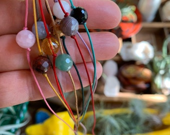 Live with Intention | Gemstone Friendship Bracelet or Anklet | Reiki Infused | Spiritual Junkies | Yoga + Meditation | Gift Idea
