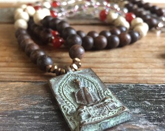 108 Bead Partially Handknotted | Spiritual Junkies | Agarwood, Lotus Seeds, Quartz Crystal, Carnelian + Thai Buddha Mala | Yoga + Meditation