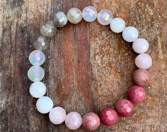 Love You Always Bracelet | Labradorite, Mystic Mermaid Rainbow Agate, Moonstone, Rose Quartz, + Rhodonite | Spiritual Junkies