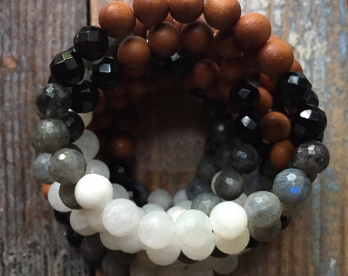 Moon Phased | Sandalwood, Onyx, Labradorite + Moonstone Ombré | Avg 8 mm | Spiritual Junkies | Yoga + Meditation | Mala Bracelet