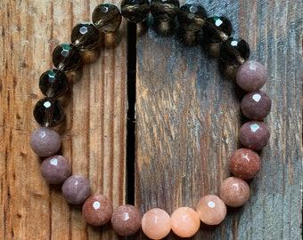 Purple Haze Bracelet | Smoky Quartz, Purple Aventurine, + Strawberry Sunstone Bracelet | 8 mm | Spiritual Junkies