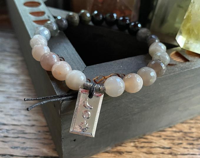 Half Moon Bracelet | Golden Rainbow Obsidian, Labradorite, Grey Moonstone + Moon | Spiritual Junkies | Yoga | Mala Beads