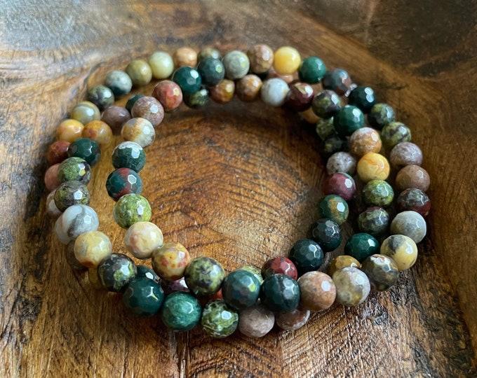 Mini Dragon Magic Bracelet | Dreamsicle Agate, Bloodstone, Dragon Blood + Ocean Jasper | 6 mm | Spiritual Junkies | Yoga | Mala Beads