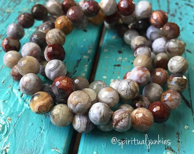 Mexican Crazy Lace Agate | Spiritual Junkies | Yoga + Meditation | Stackable Mala Bracelet