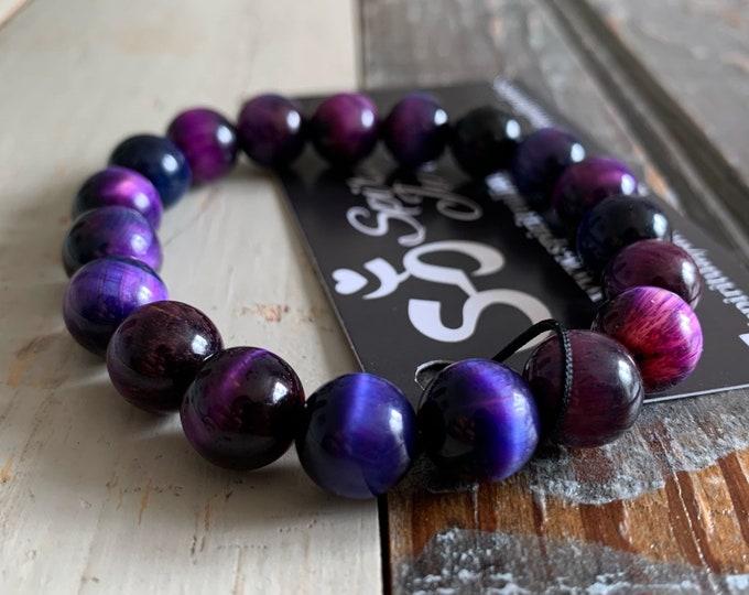 Chunky Plum Galaxy Tiger Eye Bracelet | 10 mm | Color Enhanced | Spiritual Junkies | Yoga Mala Bracelet | Tigers Eye