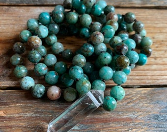 Chrysocolla + Quartz Crystal Mala   108 Beads   Handknotted   Spiritual Junkies   Yoga + Meditation   Ganesh