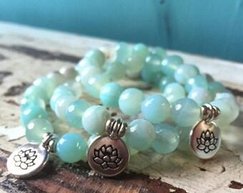 Aqua Striped Agate + Lotus |Spiritual Junkies | Yoga + Meditation | Stackable Mala Bracelet