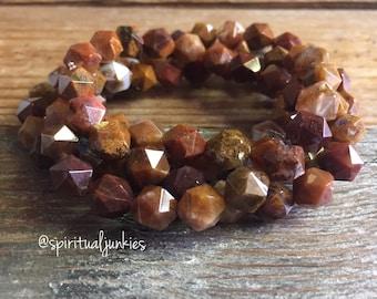 Ocean Fossil Agate Star Cut Nuggets   Spiritual Junkies   Yoga + Meditation   Stackable Mala Bracelet