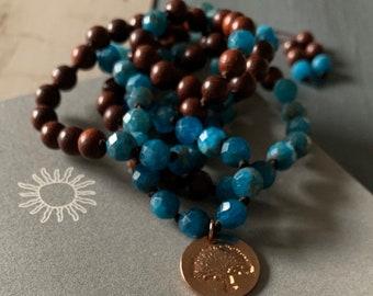 Tibetan Red Rosewood, Apatite + Rose Gold Vermeil Tree Mini Mala | 108 Bead | 6 mm |Handknotted | Spiritual Junkies | Yoga + Meditation