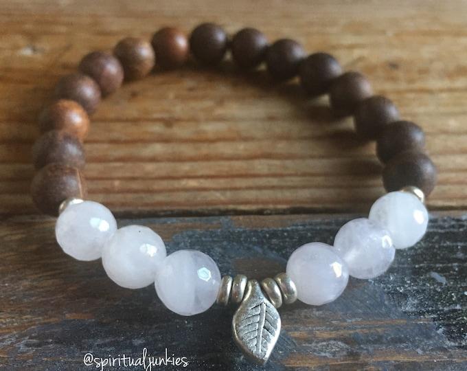 Hope | Agarwood, Rose Quartz + Leaf | Reiki Infused | Spiritual Junkies | Yoga + Meditation | Stackable Mala Bracelet
