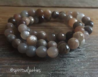 Chocolate Sunstone Bracelet | Average 8 mm | Spiritual Junkies | Yoga + Meditation | Stackable Mala Bracelet
