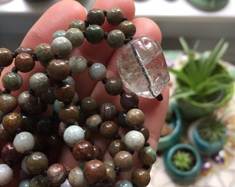 Green Australian Jade + Garden Quartz Crystal (Rutile) Mini Mala | 6 mm | Spiritual Junkies | 108 Bead Handknotted | Yoga + Meditation