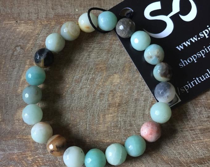 Faceted Amazonite | Spiritual Junkies | Yoga + Meditation | Stackable Mala Bracelet