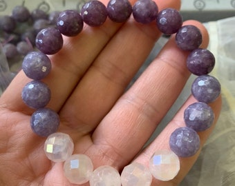 Chunky Lepidolite + Aqua Aura Quartz Ombre   10 mm   Spiritual Junkies   Yoga + Meditation   Stackable Mala Bracelet