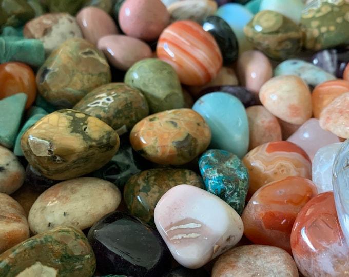 Assorted Grab Bag | Three (3) Tumbled Gemstones | Reiki Love Infused | Spiritual Junkies | Healing Crystal | Crystals | Gemstone