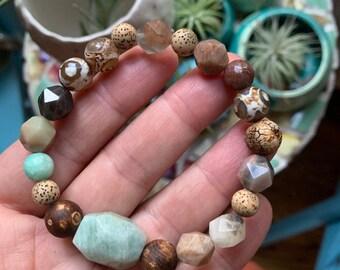 Peace   Chunky Dzi Agate, Chocolate Sunstone, Amazonite + Lotus Seed Beads   Spiritual Junkies   Yoga + Meditation   Stackable Mala Bracelet