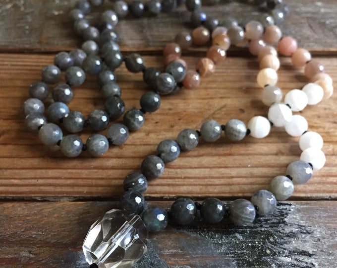 Sunstone, Moonstone, Labradorite + Quartz Crystal Mala | 108 Beads | Ombre | Handknotted | Spiritual Junkies | Yoga + Meditation