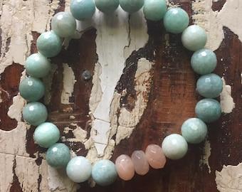 Endless Summer   Amazonite + Sunstone   Spiritual Junkies   Yoga + Meditation   Stackable Mala Bracelet