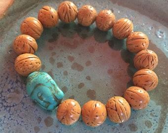 Chunky Bodhi Seed Bead + Turquoise Magnesite Buddha | Spiritual Junkies | Yoga + Meditation | Stackable Mala Bracelet