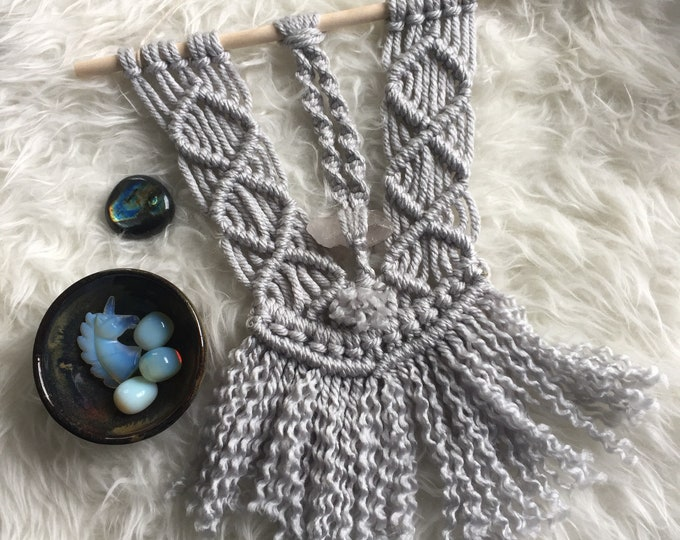 Macrame Wall Hanging | Raw Quartz Crystal | Spiritual Junkies | Reiki Infused | Crystal | Gemstone | Fiber Art
