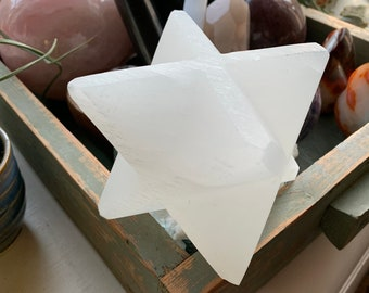 Selenite Merkaba Star | Approximately 1.5 Pounds | Spiritual Junkies | Reiki Love Infused | Altar | Sacred Spaces