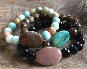 Chunky Crystals + Gemstone Bracelet   10 mm   Spiritual Junkies   Yoga + Meditation   Stackable Mala Bracelet